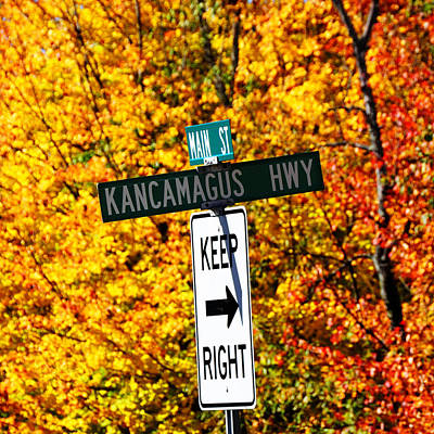 Photograph - Kancamagus Autumn Foliage Keep Right  by Luke Moore