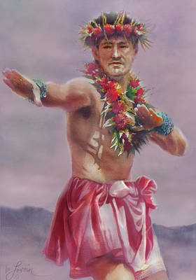 Painting - Kane Hula by Mary Lovein