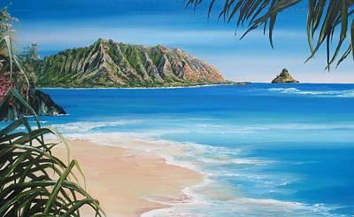 Family Beach Wedding Wall Art - Painting - Kaneohe Bay  by Linda Briggs