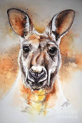 Kangaroo Big Red Art Print by Sandra Phryce-Jones