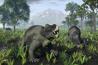 Triassic Photograph - Kannemeyeria Dicynodonts, Artwork by Science Photo Library