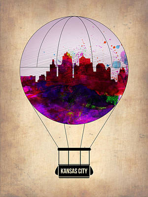 Kansas City Air Balloon Art Print by Naxart Studio