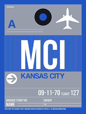 Town Mixed Media - Kansas City Airport Poster 2 by Naxart Studio