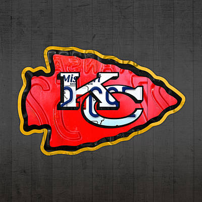 Team Mixed Media - Kansas City Chiefs Football Team Retro Logo Missouri License Plate Art by Design Turnpike
