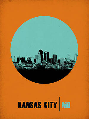 Panoramic Digital Art - Kansas City Circle Poster 1 by Naxart Studio