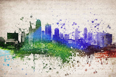 Usa United States Mixed Media - Kansas City In Color by Aged Pixel