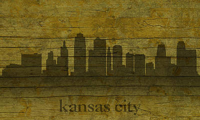Kansas City Missouri City Skyline Silhouette Distressed On Worn Peeling Wood Art Print