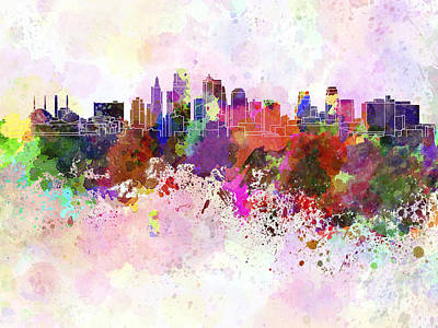 Colorful Art Digital Art - Kansas City Skyline In Watercolor Background by Pablo Romero