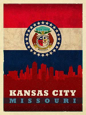 Flag Mixed Media - Kansas City Skyline State Flag Of Missouri Art Poster Series 008 by Design Turnpike