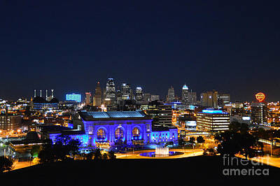 Kansas City Union Station In Blue  Art Print by Catherine Sherman