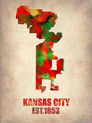 Kansas City Digital Art - Kansas City Watercolor Map by Naxart Studio
