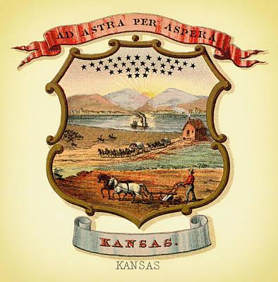 Kansas Coat Of Arms - 1876 Art Print by Mountain Dreams