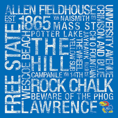 Word Art Photograph - Kansas College Colors Subway Art by Replay Photos