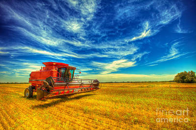 Kansas Combine Art Print by  Caleb McGinn