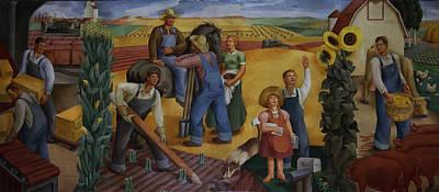 Kansas Oil Painting - Kansas Farming by Mountain Dreams