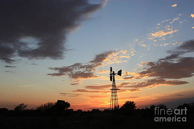 Photograph - Kansas Golden Sky With A Windmill by Robert D  Brozek