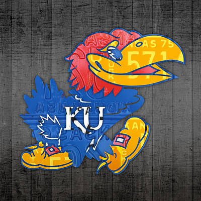 University Of Arizona Mixed Media - Kansas Jayhawks College Sports Team Retro Vintage Recycled License Plate Art by Design Turnpike