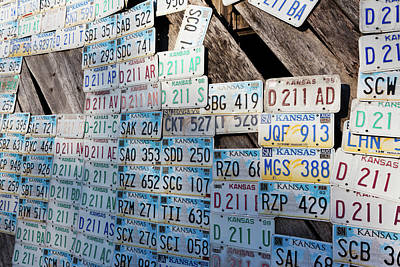 Kansas License Plates At Art Park Print by Panoramic Images
