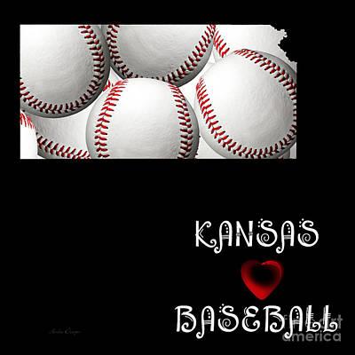 Digital Art - Kansas Loves Baseball by Andee Design