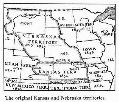 Kansas-nebraska Map, 1854 Art Print