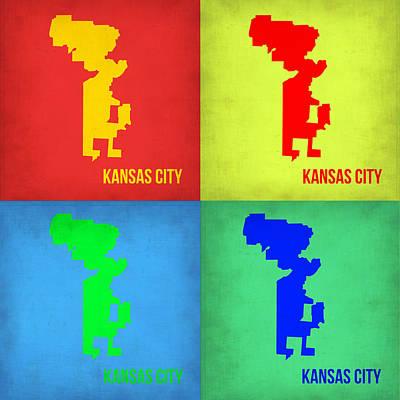 Pop Digital Art - Kansas Pop Art Map 1 by Naxart Studio
