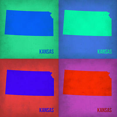 Country Map City Map Painting - Kansas Pop Art Map 3 by Naxart Studio
