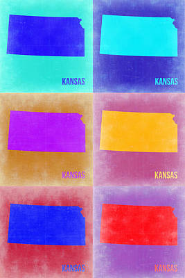 Country Map City Map Painting - Kansas Pop Art Map 4 by Naxart Studio