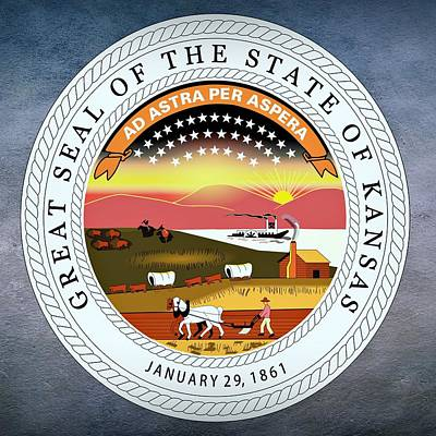 Agriculture Digital Art - Kansas State Seal by Movie Poster Prints