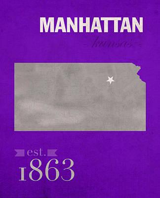 Kansas State University Wildcats Manhattan Kansas College Town State Map Poster Series No 052 Art Print by Design Turnpike