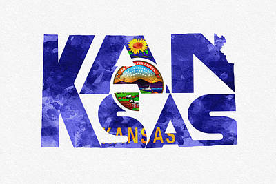 Kansas Typographic Map Flag Print by Ayse Deniz