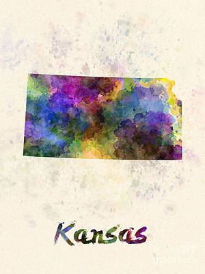 Cartography Painting - Kansas Us State In Watercolor by Pablo Romero