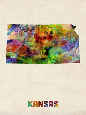 Digital Art - Kansas Watercolor Map by Michael Tompsett