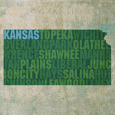 Wall Art - Mixed Media - Kansas Word Art State Map On Canvas by Design Turnpike