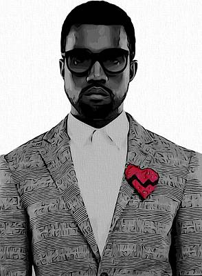 Rapper Digital Art - Kanye West  by Dan Sproul