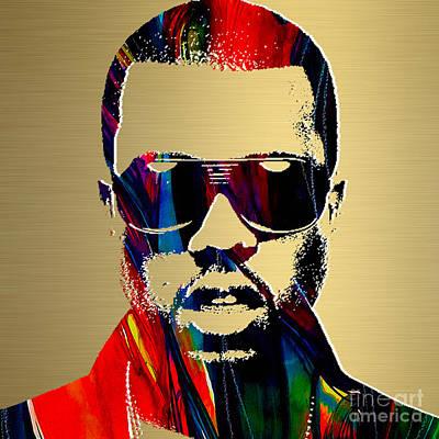 Folk Art Mixed Media - Kanye West Gold Series by Marvin Blaine