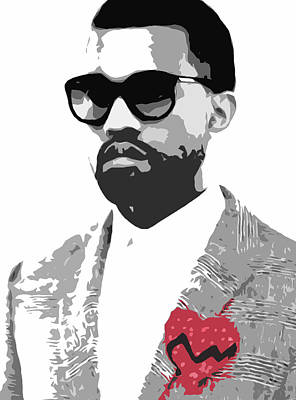 Stencil Digital Art - Kanye West by Mike Maher