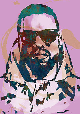 Jay Z Drawing - Kanye West Net Worth - Stylised Pop Art Drawing Potrait Poster by Kim Wang