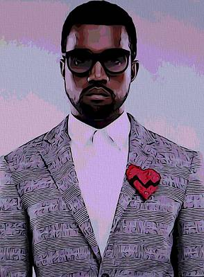 Jay Z Mixed Media - Kanye West Poster by Dan Sproul
