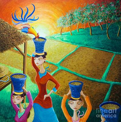 Rooster Painting - Kapag Palay Na Lumapit Sa Manok by Paul Hilario