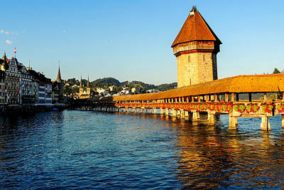 Photograph - Kapellbrucke Or Chapel Bridge In Lucerne by Marilyn Burton