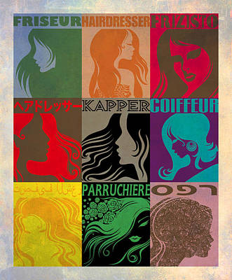 Mixed Media - Kapper Hairdresser Coiffeur Friseur by Nop Briex