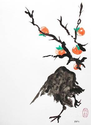 Persimmon Painting - Karasu To Kaki by Pg Reproductions