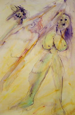 Floating Girl Painting - We Girls Always Had To Fight For Our Rights But Did We Ever Win  by Hilde Widerberg