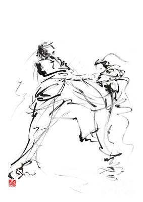 Karate Martial Arts Kyokushinkai Japanese Kick Oyama Ko Knock Out Japan Ink Sumi-e Print by Mariusz Szmerdt