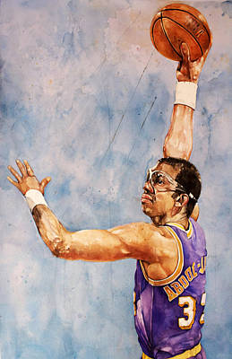 Magic Johnson Painting - Kareem Abdul Jabbar by Michael  Pattison