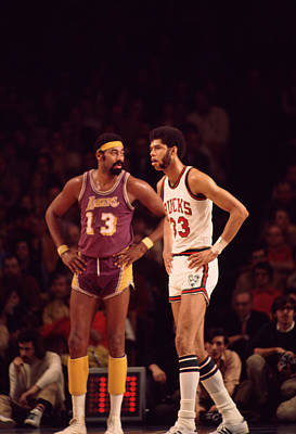 Kareem Abdul Jabbar Stands With Wilt Chamberlain Art Print by Retro Images Archive