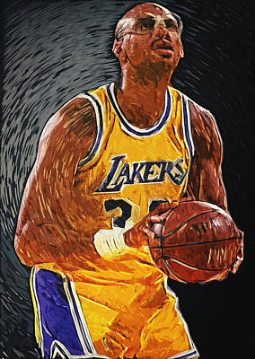 Magic Johnson Painting - Kareem Abdul-jabbar by Taylan Apukovska
