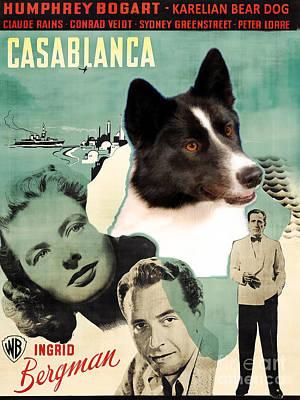 Painting - Karelian Bear Dog Art Canvas Print - Casablanca Movie Poster by Sandra Sij