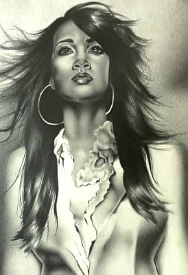 Drawing - Karen Clark Sheard In Second Chance by Carl Baker