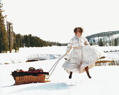 Winter Photograph - Karen Elson In The Snow by Arthur Elgort